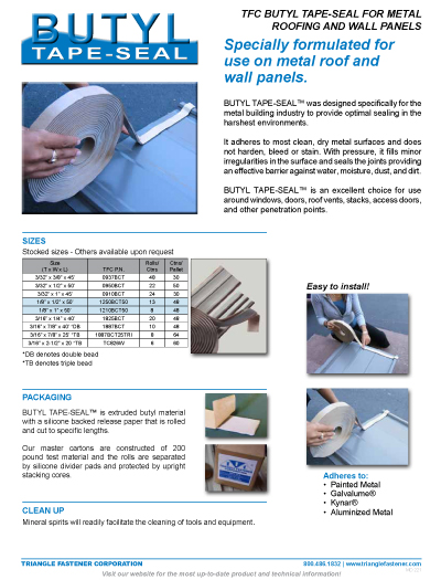 Butyl Tape Seal For Metal Roofing And Siding Triangle